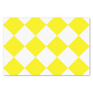 Diag kariertes großes - Weiß und Zitrone Seidenpapier