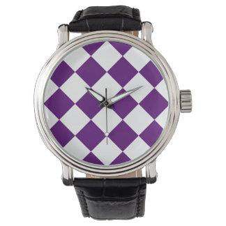 Diag kariertes großes - weißes und dunkles armbanduhr