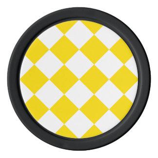 Diag kariertes großes - weißes und goldenes Gelb Poker Chip Set