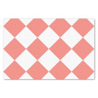 Diag kariertes großes - weißes und Korallen-Rosa Seidenpapier