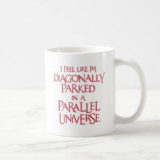 Diagonal geparkt, rot kaffeetasse