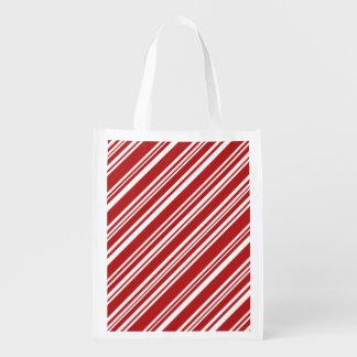 Diagonale rote und weiße Pfefferminz-Streifen Wiederverwendbare Einkaufstasche