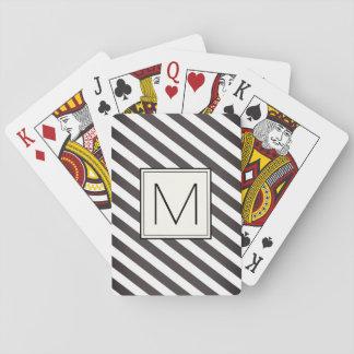 Diagonale Streifen mit Monogrammquadrat Spielkarten