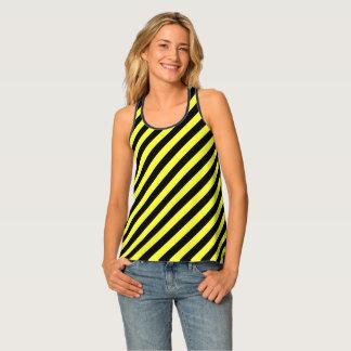 diagonale Streifen Schwarzes und Gelb Tanktop