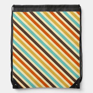 Diagonale Stripes das 4 Retro Farbblaue gelbe Rot Turnbeutel