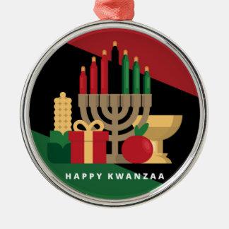 diagonaler Streifen glückliches Kwanzaa Silbernes Ornament