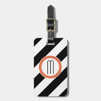 Diagonaler Streifen-Monogramm-Gepäckanhänger - Kor Gepäckanhänger