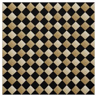 Diagonales Karo-Schwarzes/Golddamast DCRX Stoff