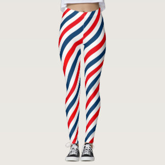 Diagonales Streifen-Muster Tricolor Leggings