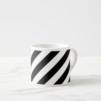 Diagonales Streifen-Schwarzweiss-Muster Espressotasse