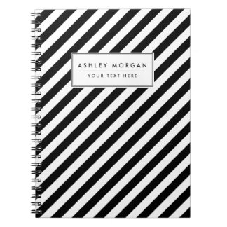 Diagonales Streifen-Schwarzweiss-Muster Notizblock