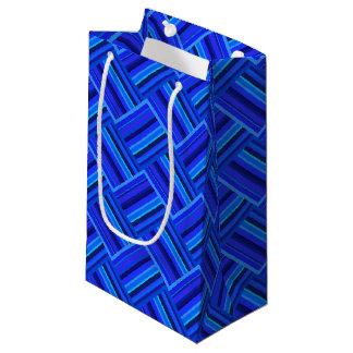Diagonales Webartmuster der blauen Streifen Kleine Geschenktüte