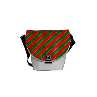 Diagonales Zuckerstange Streifen-Weihnachten rot Kuriertaschen