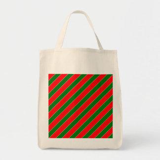 Diagonales Zuckerstange Streifen-Weihnachten rot Tragetasche