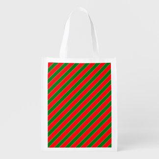 Diagonales Zuckerstange Streifen-Weihnachten rot Wiederverwendbare Einkaufstasche