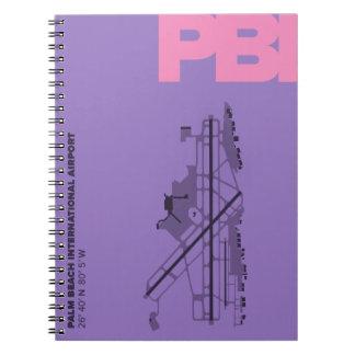 Diagramm-Notizbuch des Palm Beach-Flughafen-(PBI) Notizblock