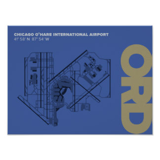 Diagramm-Plakat Chicagos O'Hare Flughafen-(ORD) Poster