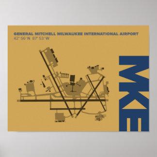 Diagramm-Plakat Milwaukee-Flughafen-(MKE) Poster