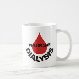 Dialysekrankenschwester-Blut-Tropfen vorbei Kaffeetasse