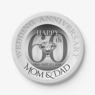 Diamant-60. Hochzeits-Jahrestags-Papier-Teller Pappteller 17,8 Cm