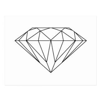 Diamant, der Schwarzweiss-modernes zeichnet Postkarte