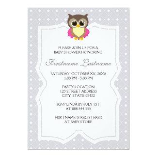 Diamant-elegante Eulen-Babyparty-Einladungen
