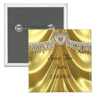 Diamant Fleurette u. Satin-Gold Quadratischer Button 5,1 Cm