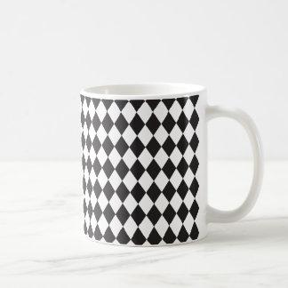 Diamant-Harlekin-Muster in Schwarzweiss Kaffeetasse