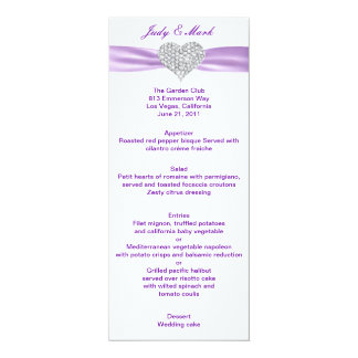 Diamant-Herz-lila Hochzeits-Menü-Karte 10,2 X 23,5 Cm Einladungskarte