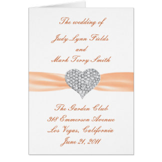 Diamant-Herz-orange Hochzeits-Programm-Karte Grußkarte