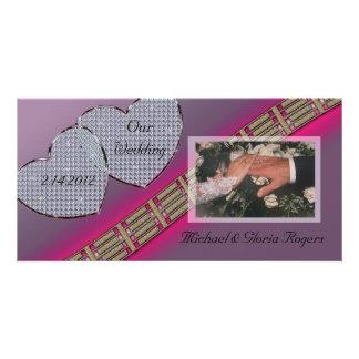 Diamant-Herzen Lavendel und Rosa Bildkarte