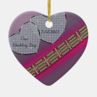 Diamant-Herzen Lavendel und Rosa Keramik Ornament