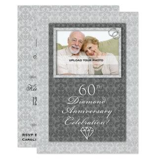 Diamant-Hochzeits-Jahrestags-Party des Damast-60. 12,7 X 17,8 Cm Einladungskarte