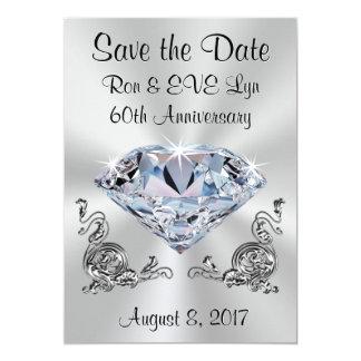 Diamant-Jahrestags-Save the Date Karten, Ihr Text Karte