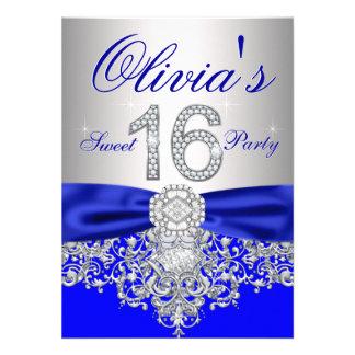 Diamant-königliches Blau und silbernes Party des Individuelle Einladung