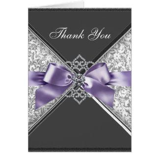 Diamant-lila schwarzer Damast danken Ihnen Karten