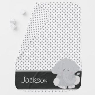 Diamant-Muster mit Elefanten | personalisiert Babydecke