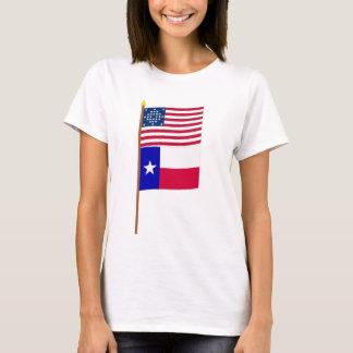 Diamant-Musterflagge Stern US 28 auf Pfosten mit T-Shirt