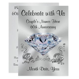 Diamant-personalisierte 60. Jahrestags-Einladungen 12,7 X 17,8 Cm Einladungskarte