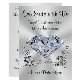 Diamant-personalisierte 60. Jahrestags-Einladungen Karte