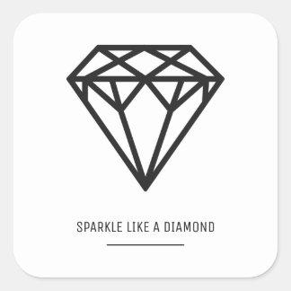 Diamant Quadratischer Aufkleber