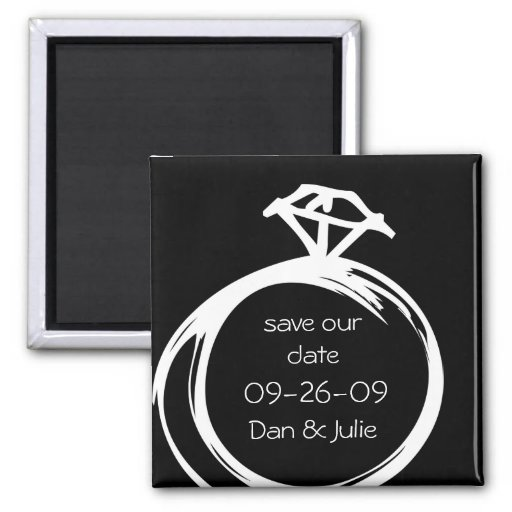 Diamant-Ring-Save the Date Magnet Magnets