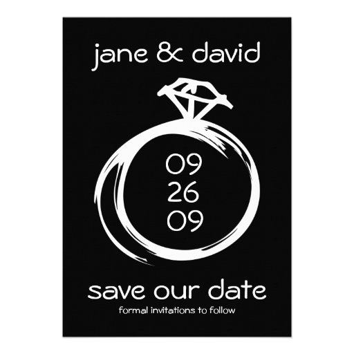 Diamant-Ring-Save the Date Mitteilungen Personalisierte Ankündigungen