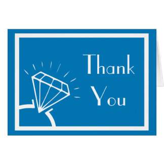 Diamant-Ring-Silhouette danken Ihnen (blau/Weiß) Karte