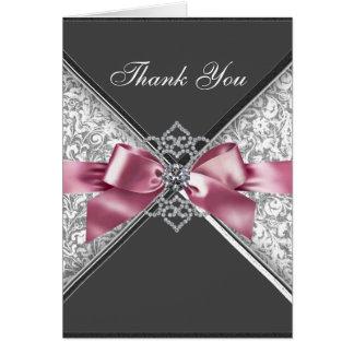 Diamant-rosa schwarzer Damast danken Ihnen Karten