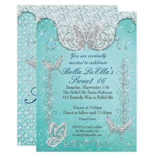 Diamant-Schmetterlings-Party Einladungen