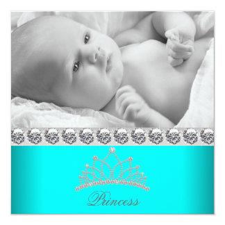 Diamant-Tiara-Prinzessin Baby Birth Announcements Quadratische 13,3 Cm Einladungskarte
