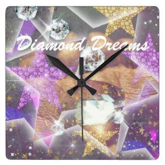 Diamant-Träume Quadratische Wanduhr