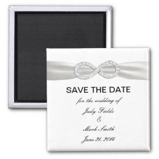 Diamant-Unendlichkeit WhiteWedding Save the Date Quadratischer Magnet