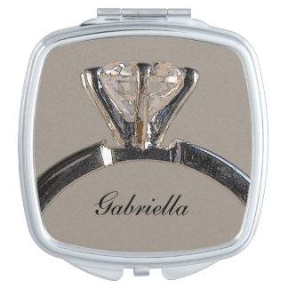Diamant-Verlobungs-Ring-Hochzeit Taschenspiegel